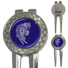 Aries Zodiac Star 3 In 1 Golf Divots by Mariart