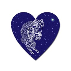 Aries Zodiac Star Heart Magnet by Mariart