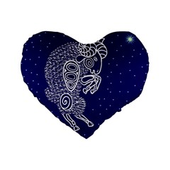 Aries Zodiac Star Standard 16  Premium Flano Heart Shape Cushions by Mariart
