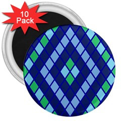 Blue Diamonds Green Grey Plaid Line Chevron 3  Magnets (10 Pack)  by Mariart