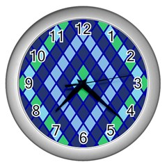 Blue Diamonds Green Grey Plaid Line Chevron Wall Clocks (silver)  by Mariart