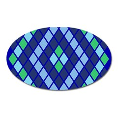 Blue Diamonds Green Grey Plaid Line Chevron Oval Magnet by Mariart
