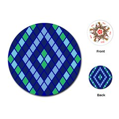 Blue Diamonds Green Grey Plaid Line Chevron Playing Cards (round)