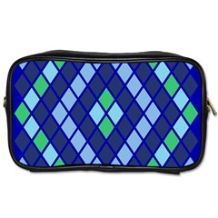 Blue Diamonds Green Grey Plaid Line Chevron Toiletries Bags 2 Side by Mariart