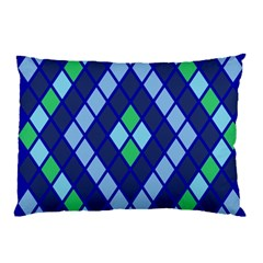 Blue Diamonds Green Grey Plaid Line Chevron Pillow Case (two Sides) by Mariart