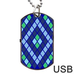 Blue Diamonds Green Grey Plaid Line Chevron Dog Tag Usb Flash (two Sides) by Mariart