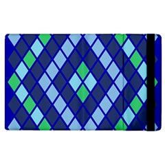 Blue Diamonds Green Grey Plaid Line Chevron Apple Ipad 3/4 Flip Case by Mariart