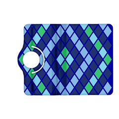 Blue Diamonds Green Grey Plaid Line Chevron Kindle Fire Hd (2013) Flip 360 Case by Mariart