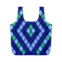 Blue Diamonds Green Grey Plaid Line Chevron Full Print Recycle Bags (m)  by Mariart