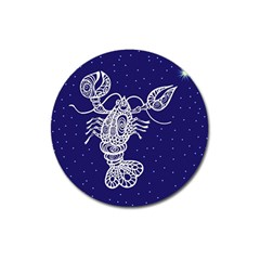 Cancer Zodiac Star Magnet 3  (round) by Mariart