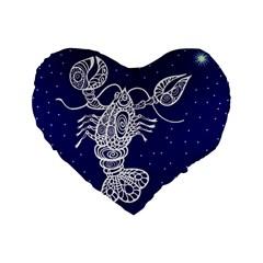 Cancer Zodiac Star Standard 16  Premium Flano Heart Shape Cushions by Mariart