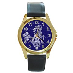 Capricorn Zodiac Star Round Gold Metal Watch by Mariart