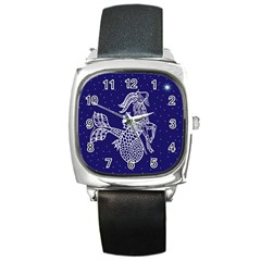 Capricorn Zodiac Star Square Metal Watch by Mariart