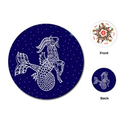 Capricorn Zodiac Star Playing Cards (round)  by Mariart