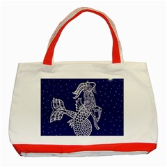 Capricorn Zodiac Star Classic Tote Bag (red) by Mariart