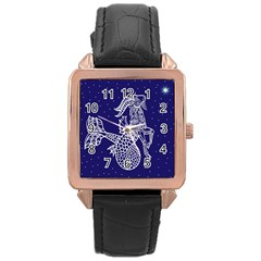 Capricorn Zodiac Star Rose Gold Leather Watch  by Mariart