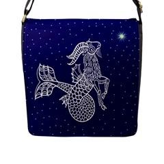 Capricorn Zodiac Star Flap Messenger Bag (l)  by Mariart