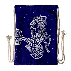 Capricorn Zodiac Star Drawstring Bag (large) by Mariart