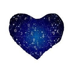 Astrology Illness Prediction Zodiac Star Standard 16  Premium Flano Heart Shape Cushions by Mariart