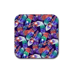 Bird Feathers Color Rainbow Animals Fly Rubber Square Coaster (4 Pack)  by Mariart