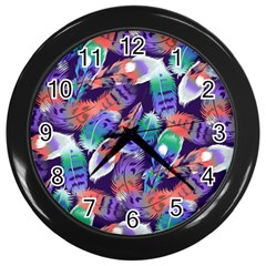 Bird Feathers Color Rainbow Animals Fly Wall Clocks (black) by Mariart