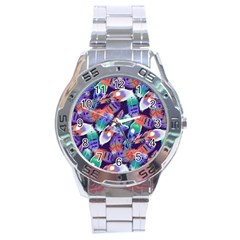 Bird Feathers Color Rainbow Animals Fly Stainless Steel Analogue Watch by Mariart