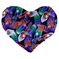 Bird Feathers Color Rainbow Animals Fly Large 19  Premium Flano Heart Shape Cushions by Mariart