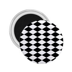 Diamond Black White Plaid Chevron 2 25  Magnets by Mariart