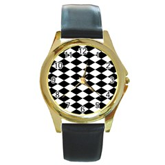 Diamond Black White Plaid Chevron Round Gold Metal Watch by Mariart