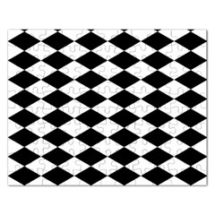 Diamond Black White Plaid Chevron Rectangular Jigsaw Puzzl by Mariart