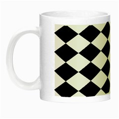 Diamond Black White Plaid Chevron Night Luminous Mugs by Mariart