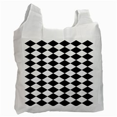 Diamond Black White Plaid Chevron Recycle Bag (two Side)  by Mariart