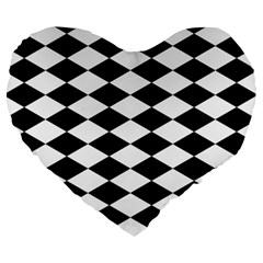 Diamond Black White Plaid Chevron Large 19  Premium Heart Shape Cushions by Mariart