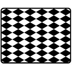 Diamond Black White Plaid Chevron Double Sided Fleece Blanket (medium)  by Mariart