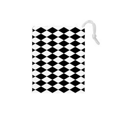 Diamond Black White Plaid Chevron Drawstring Pouches (small)  by Mariart