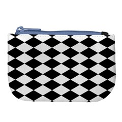 Diamond Black White Plaid Chevron Large Coin Purse by Mariart