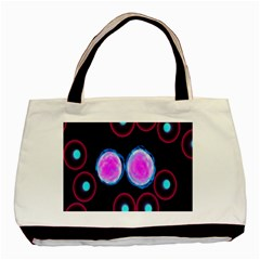 Cell Egg Circle Round Polka Red Purple Blue Light Black Basic Tote Bag (two Sides) by Mariart