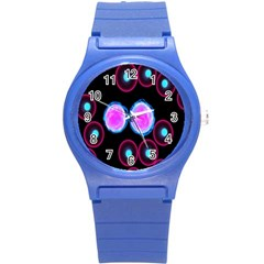 Cell Egg Circle Round Polka Red Purple Blue Light Black Round Plastic Sport Watch (s) by Mariart