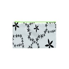 Flower Floral Black Line Wave Chevron Fleurs Cosmetic Bag (xs) by Mariart