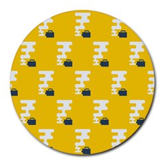Fog Machine Fogging White Smoke Yellow Round Mousepads by Mariart