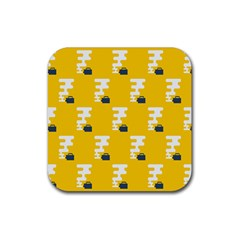 Fog Machine Fogging White Smoke Yellow Rubber Coaster (square)  by Mariart