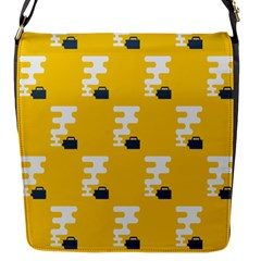 Fog Machine Fogging White Smoke Yellow Flap Messenger Bag (s) by Mariart