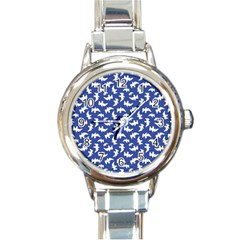 Birds Silhouette Pattern Round Italian Charm Watch