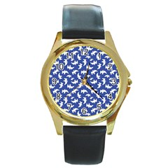 Birds Silhouette Pattern Round Gold Metal Watch