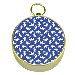 Birds Silhouette Pattern Gold Compasses