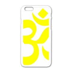 Hindu Om Maze Yellow Symbol  Apple Iphone 6/6s White Enamel Case by abbeyz71