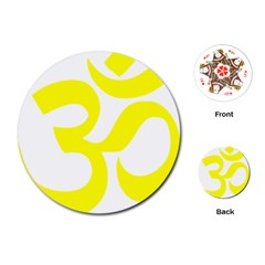 Hindu Om Symbol (maze Yellow) Playing Cards (round)  by abbeyz71