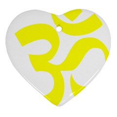 Hindu Om Symbol (maze Yellow) Heart Ornament (two Sides)