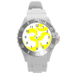 Hindu Om Symbol (maze Yellow) Round Plastic Sport Watch (l) by abbeyz71
