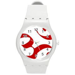 Hindu Om Symbol (red) Round Plastic Sport Watch (m) by abbeyz71